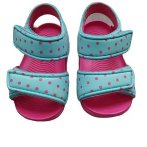 💗Foam Pink and Aqua Velcro Sandals, 1